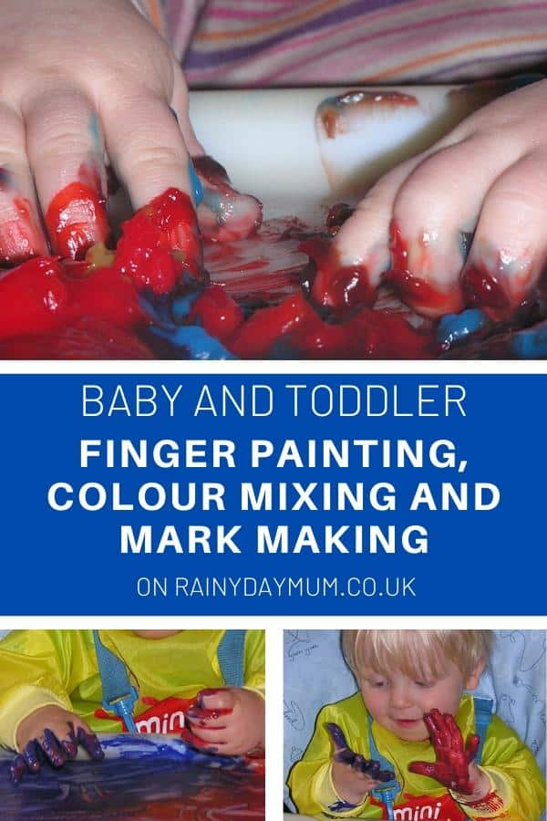 baby and toddler finger painting process art activity