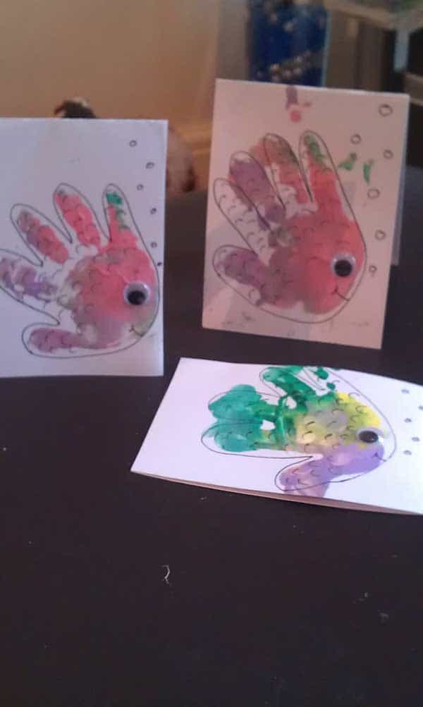 Rainbow fish handprint cards