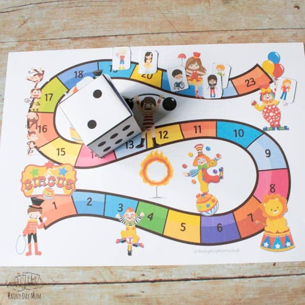 race to the big top printable circus board game to play with tots