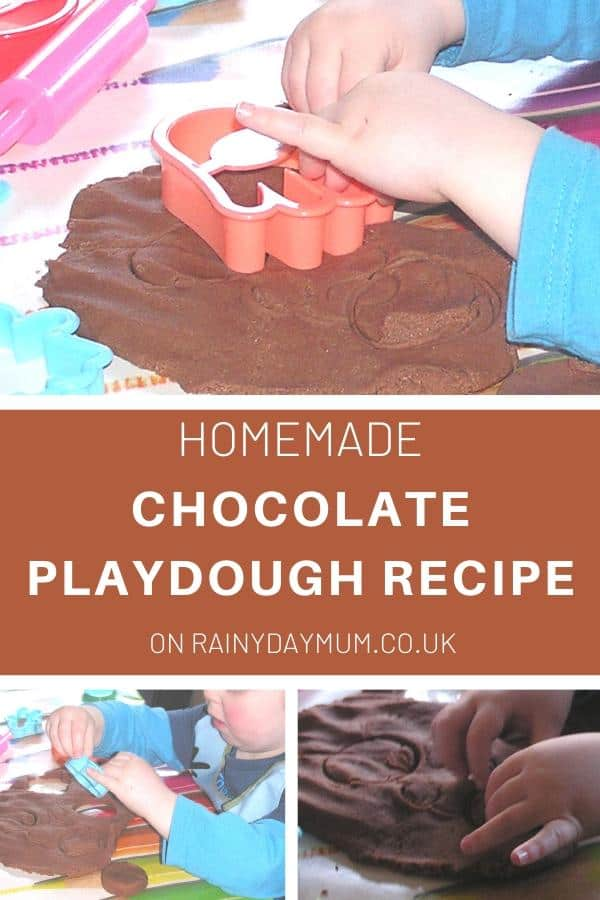 Pictures of a toddler playing pretend cookie making with a batch of homemade chocolate playdough
