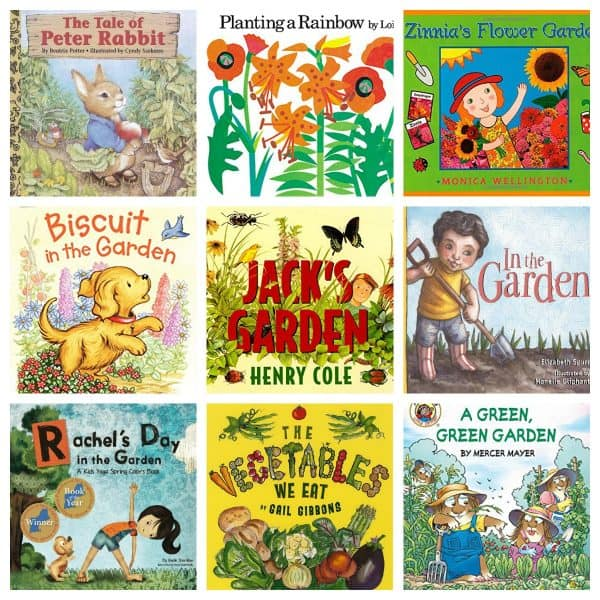 Fun fiction and non-fiction garden book ideas for reading along with toddlers and preschoolers in spring and summer or as part of a plant or garden unit.
