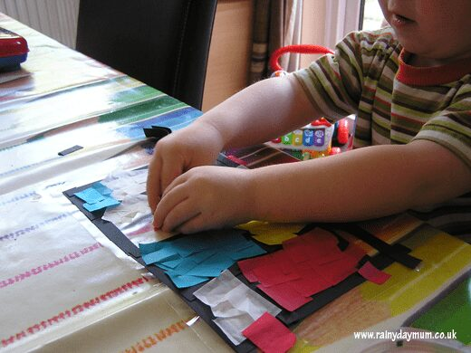 using tissue paper to create a stained glass effect