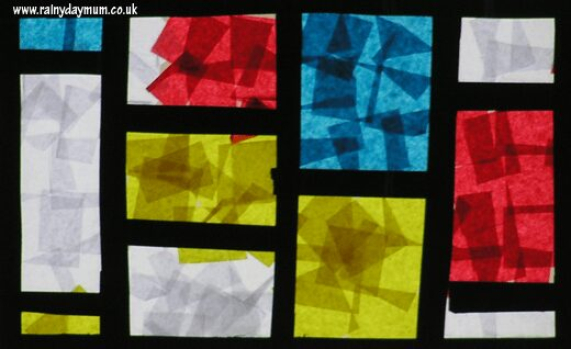 Toddler created Mondrian inspired stained glass window
