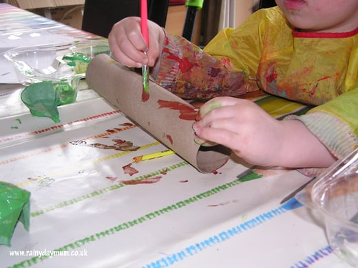 Painting a speckled log
