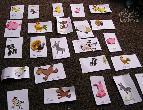 simple farm animal matching game made by mum and child using foam farm animal stickers