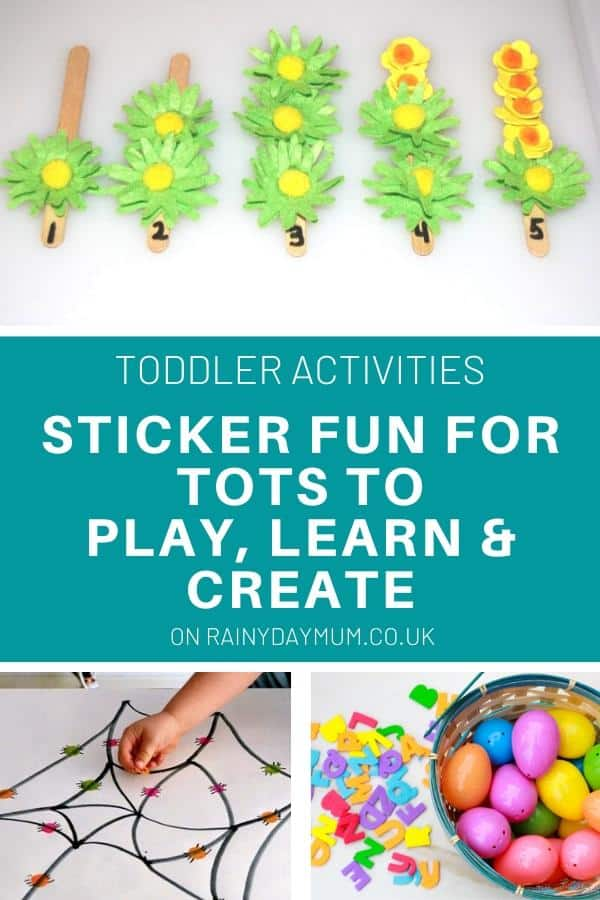 collage of sticker fun for tots to learn play and create (text overlay) with 3 activities, number stickers, spider match and egg letter hunt game
