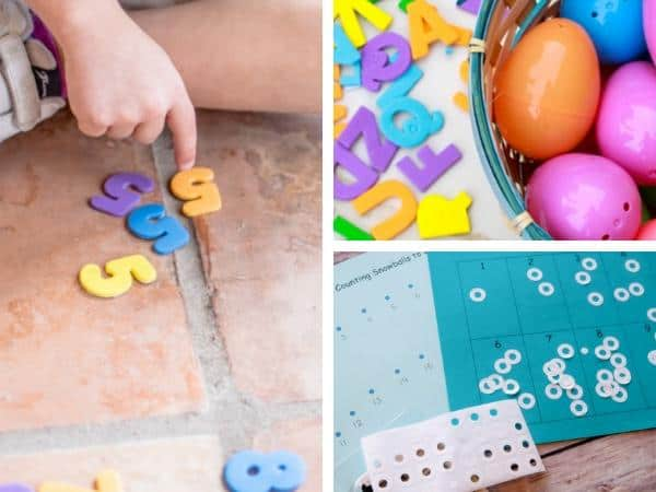 collage of 3 activities to learn with using stickers, number find and order, egg letter hunt and snowball sticker count