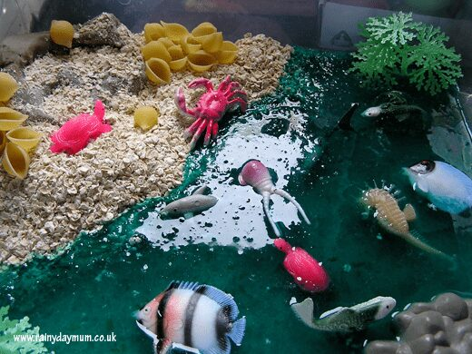 simple ocean sensory bin set up with taste safe materials