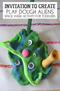 Invitation to Create Play dough Aliens for Space week with Toddlers