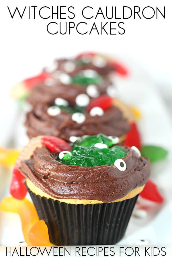 Easy Halloween Cupcakes - Witches Cauldron ideal to bake and decorate with Kids