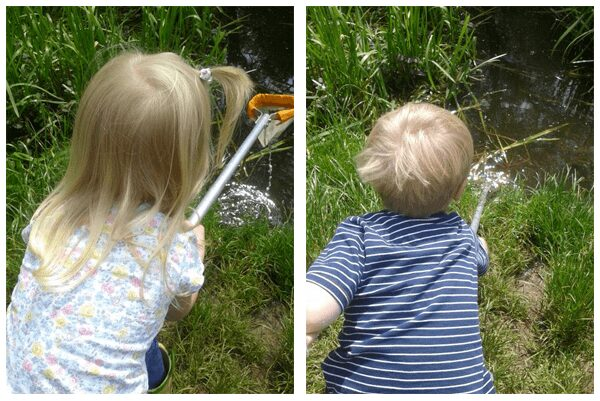 kids collecting frog eggs with nets from a pond