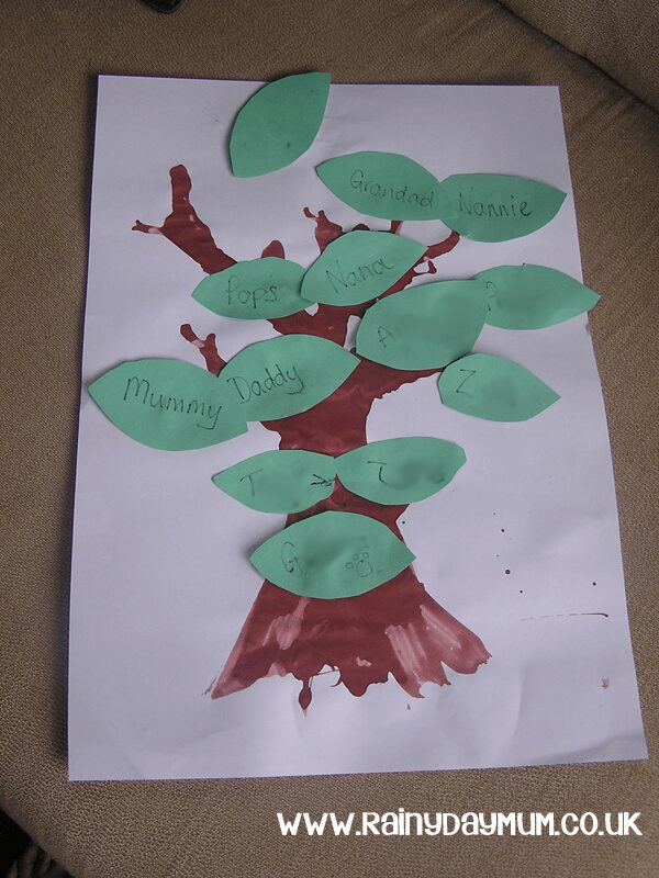 One Gorilla: A Counting Book activity creating a family tree using straw blown paint technique