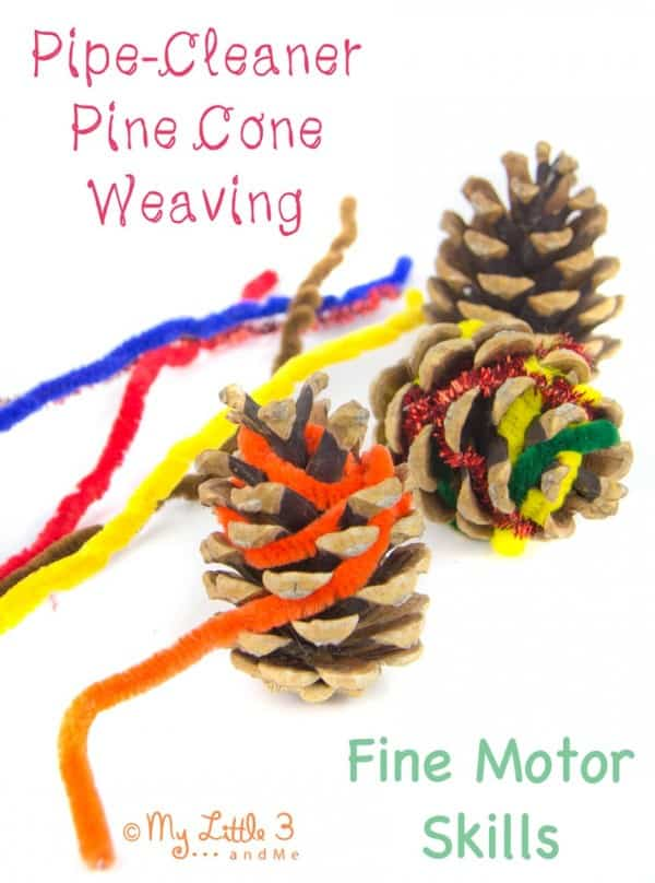 simple toddler craft for christmas to create decorated pine cones