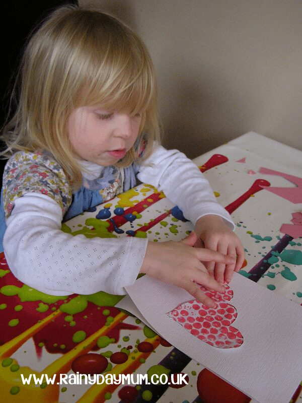 Valentines Card Craft - Bubble Wrap Printed Hearts