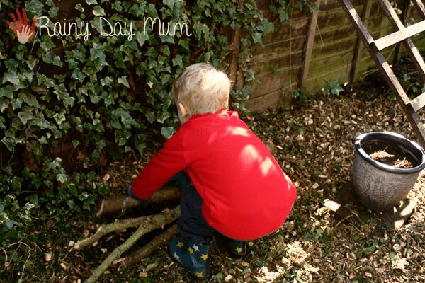 Wildlife gardening with kids - building a log pile home