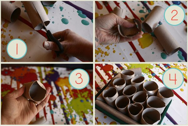 Making recycled seed pots for starting seeds off with kids