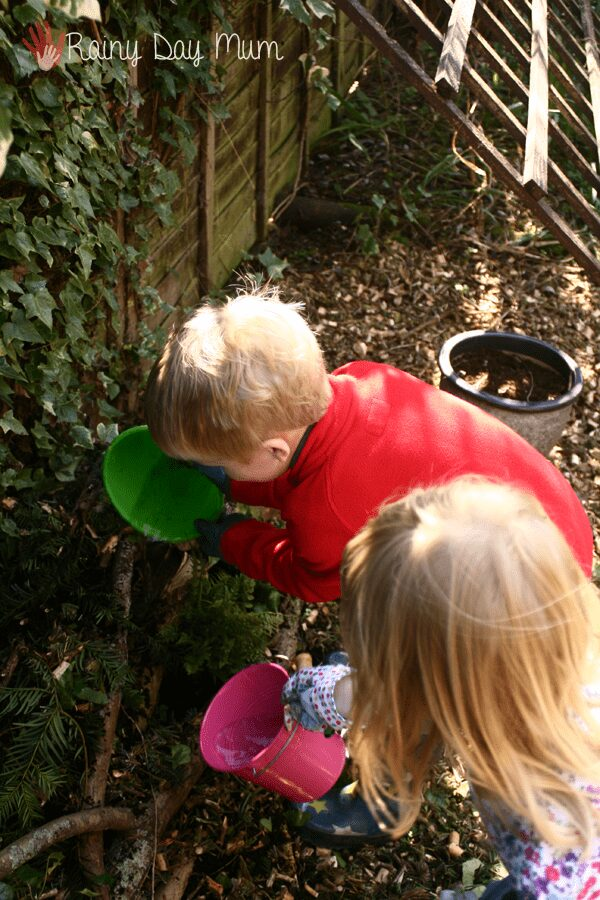 Wildlife gardening with kids - building a log pile home for creatures