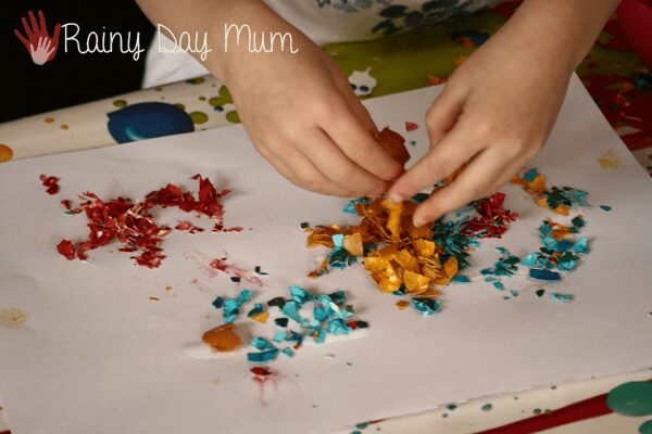 Creating collages from dyed egg shells