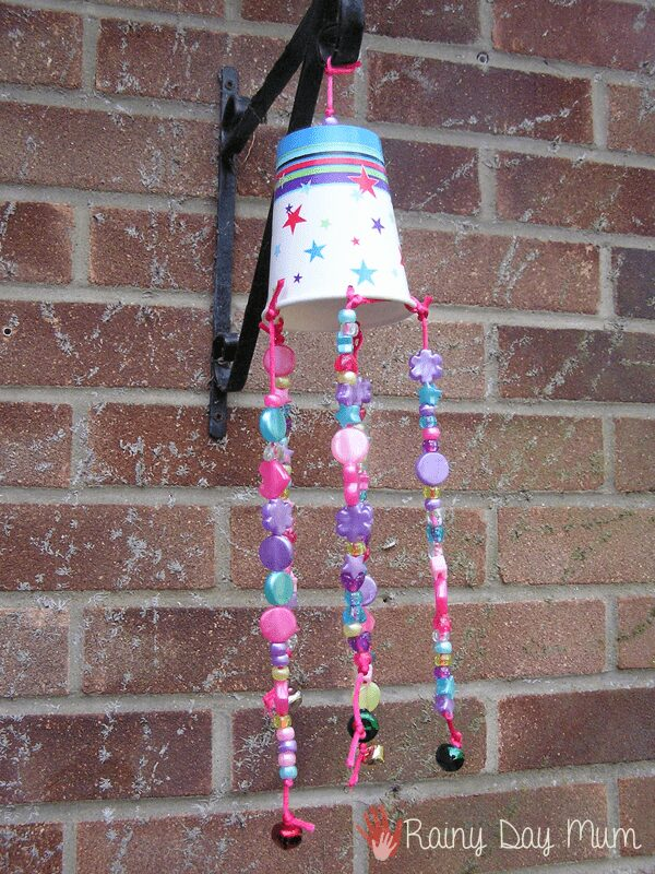 Simple Recycled Cup Wind Chime to Make with Kids