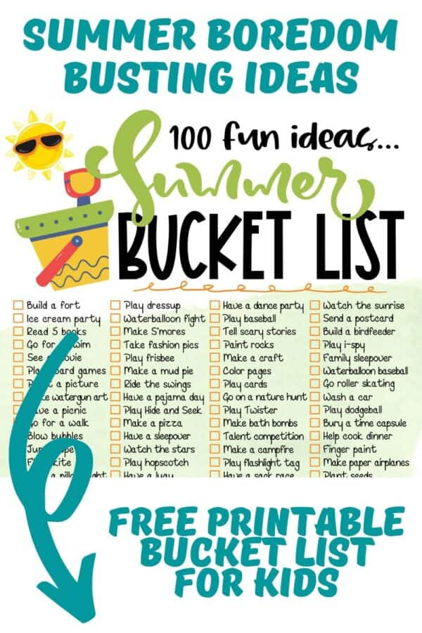 close up of the first set of activities in a summer bucket list text reads summer boredom busting ideas free printable bucket list for kids