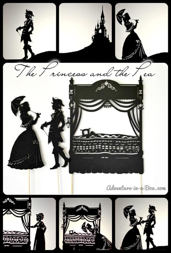 Princess and the Pea Shadow Puppet Theatre with free printable characters and sceneary