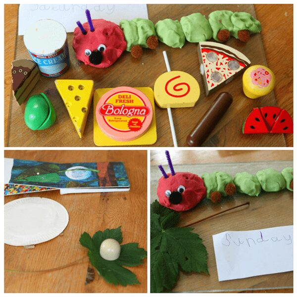 addition of toys and natural features to retell the story of the very hungry caterpillar with play dough