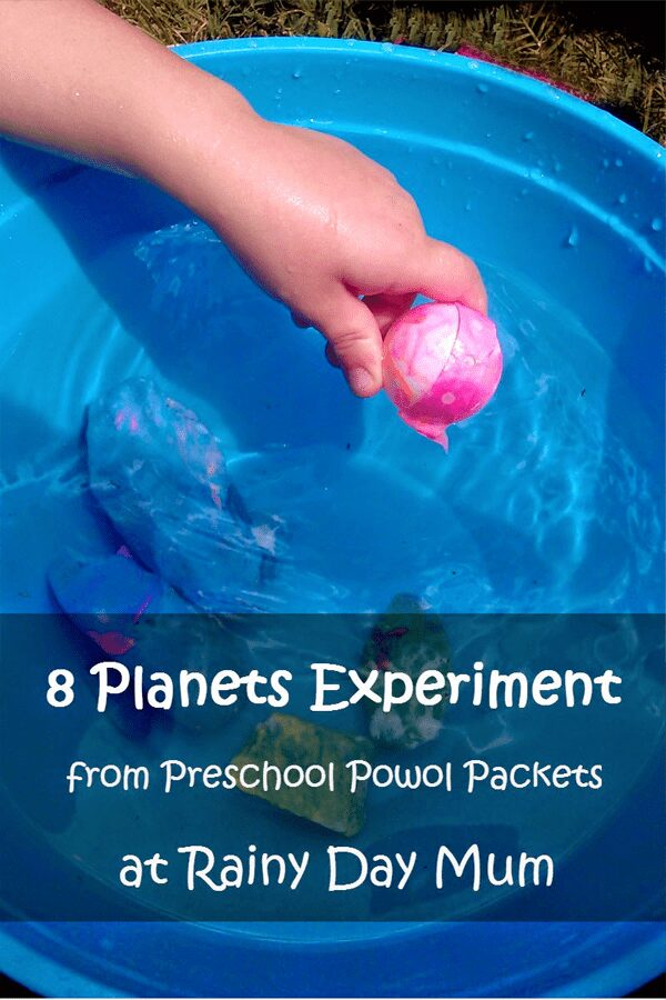 Planet density experiment for preschoolers - together with the book There's No Place Like Space