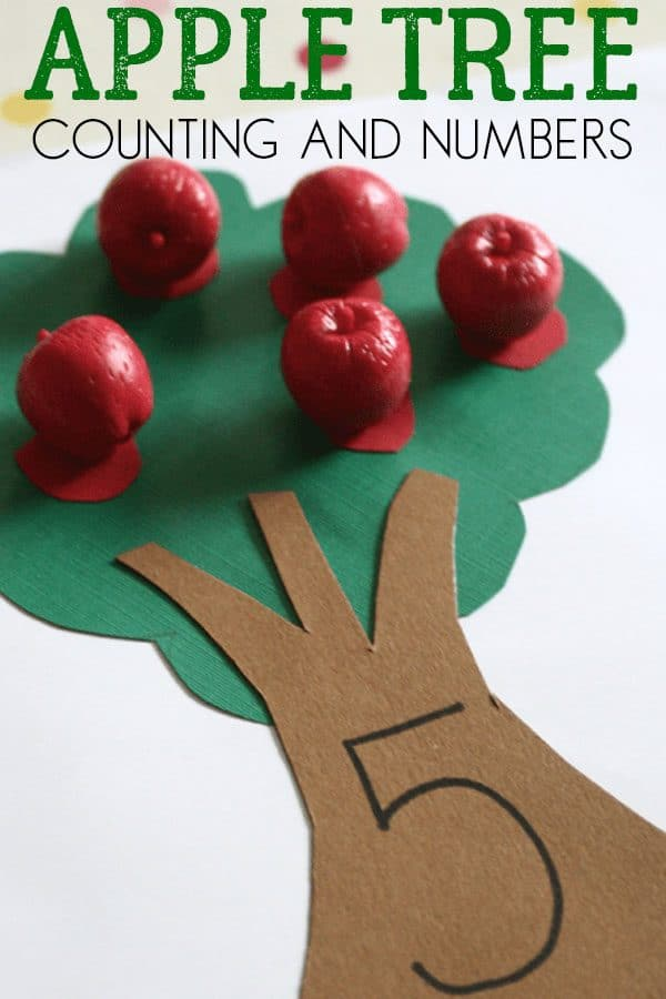 Simple apple themed counting and number recognition activity for toddlers and preschoolers ideal for fall