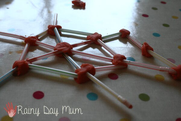 Spider Web construction with straws and play dough a fun preschool engineering project