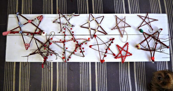 stars made with twigs laid out ready to decorate the home with natural materials for Christmas