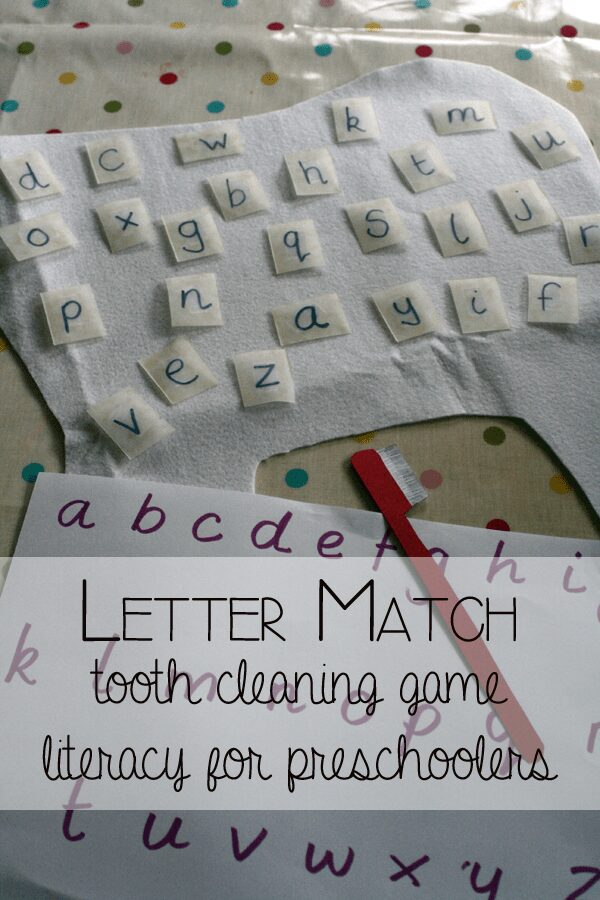 Letter Match Tooth Cleaning Game - Preschool Literacy