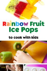 collage of the making of the rainbow popsicles with text in bright rainbow colours rainbow fruit ice pops to cook with kids