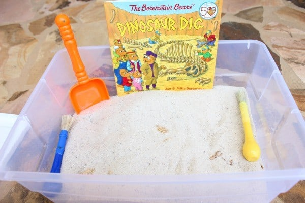 Dig for dinosaurs whilst reading The Berenstain Bears' Dinosaur Dig a simple and easy to set up play for young kids