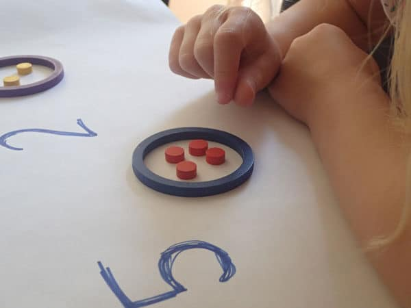counting and recognising the regular arrangement of the number 4 in objects