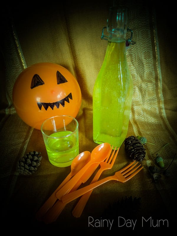 Slimey Limey Lemonade, a simple Halloween Drink Recipe for kids to make