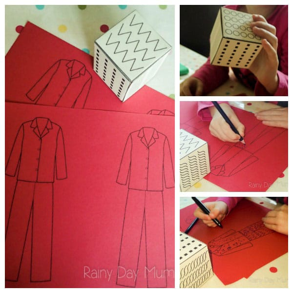 Llama Llama Red Pajama inspired pre-writing activity for preschoolers. Including FREE printable pre-writing pattern dice to construct and use.