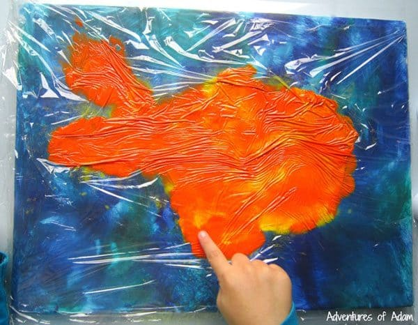 """No mess painting technique perfect for kids that hate to get messy and produce a beautiful """"bright"""" canvas the little extra would make it a perfect addition to a kids bedroom"""