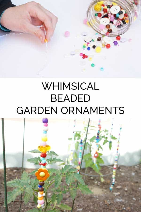 DIY Whimsical beaded garden ornaments - keep the colours of summer throughout the year in the yard or garden with these simple summer craft for kids and get them to create their own Beaded Garden Ornaments