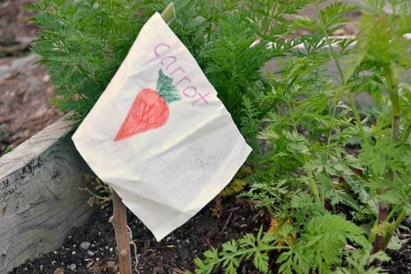 DIY Garden flags to use as seed and garden markers - so easy as a perfect summer craft for kids