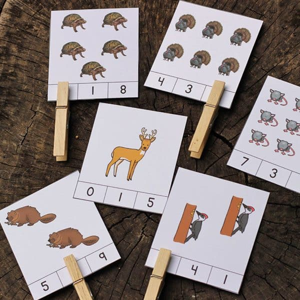 Over in the Forest Counting Clip Cards - Free Download of the clip cards to print and use. A perfect fine motor and math activity for preschoolers.