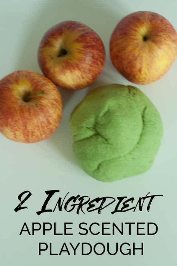 Easy 2 ingredient Apple Scented Playdough for kids. Perfect for Autumn and Fall themed Sensory Play with Toddlers and Preschoolers.