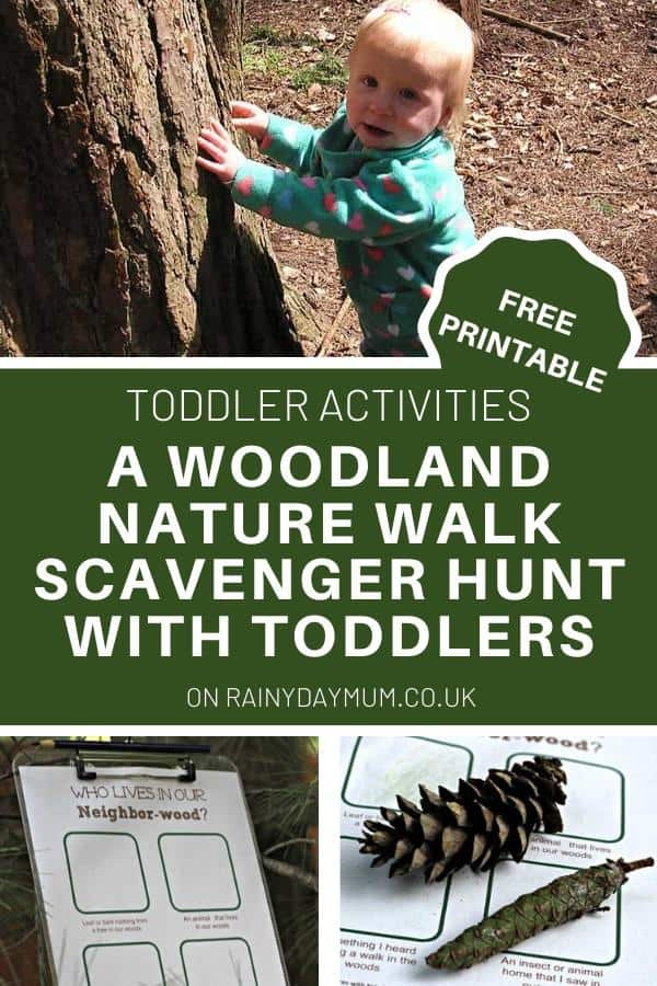 toddler on a forest nature walk feeling the bark on a tree with free printable scavenger hunt sheet and activity to do