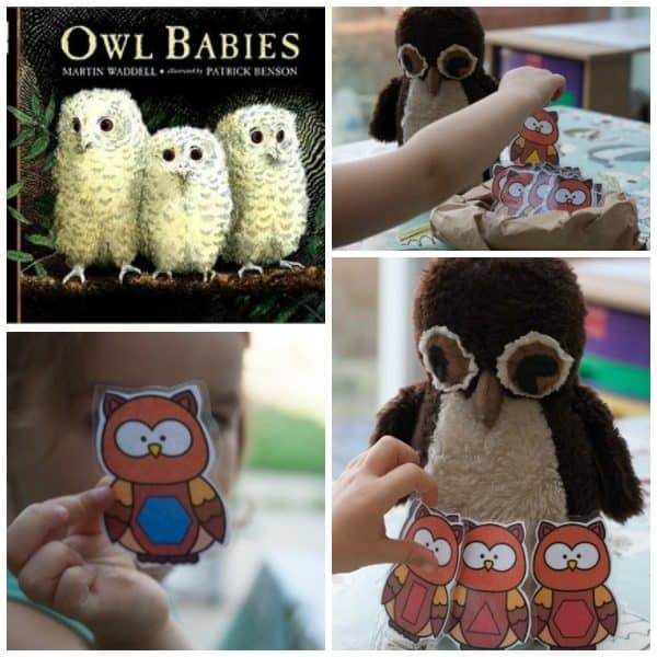 collage of Owl Babies themed shape game for preschoolers