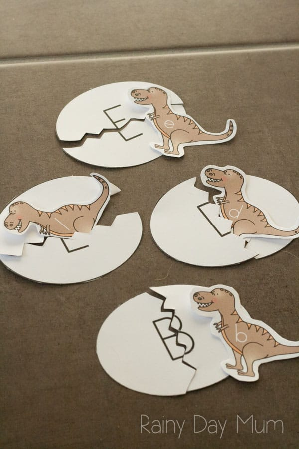 dinosaur upper and lower case letter matching game