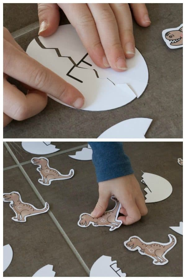 cracking eggs an extension activtity for the dino baby printable letter game for preschoolers