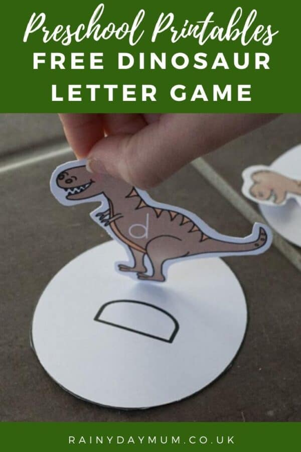 Preschool printables dinosaur letter matching game