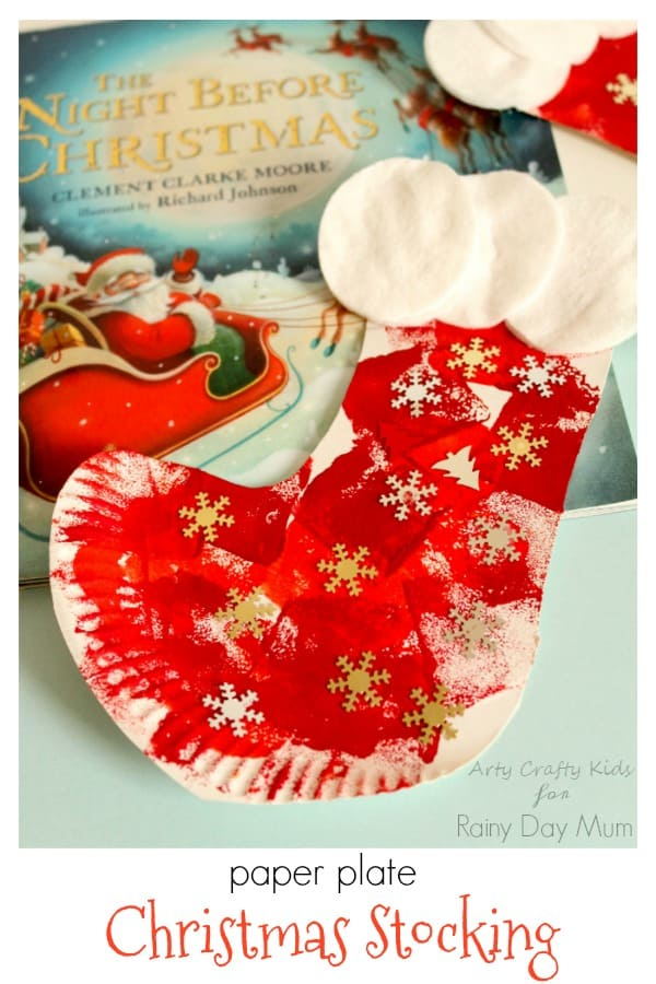 Paper Plate Christmas Stocking Craft