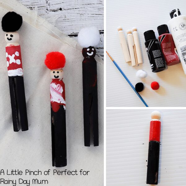 The Nutcracker inspired clothes peg dolls for Christmas Decorations. Simple and Easy to make Christmas Craft with Kidsa