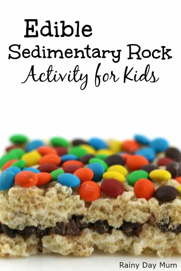 Easy edible rocks activity for kids to show how Sedimentary Rocks are formed.