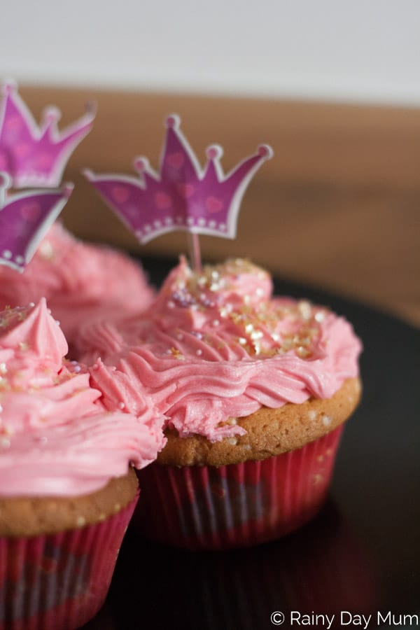 Pretty Pink Sparkle Cupcakes with Pink Vanilla Buttercream Frosting